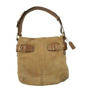 COACH Creed Tan Suede Hobo Purse Bag F05S-1483